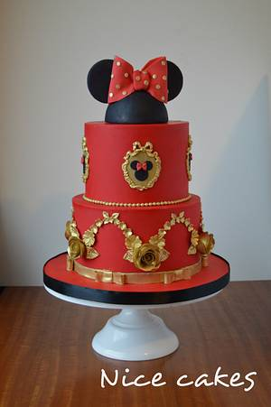 Red and gold Minnie cake - Cake by Paula Rebelo