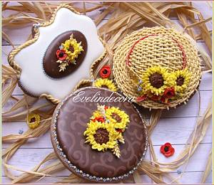 Sunflower cookies - Cake by Evelindecora