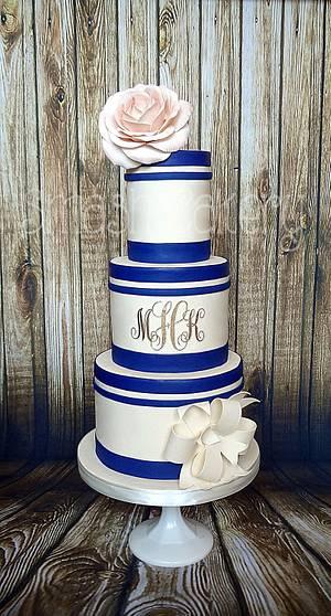 Navy, blush, and gold monogram wedding cake - Cake by Lindsey Krist