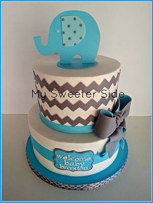 Elephant and Chevron baby shower cake - Cake by Pam from My Sweeter Side