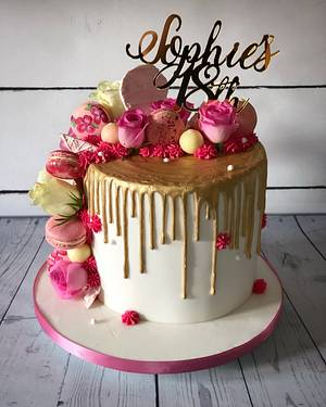 Gold drip with pink 18th birthday cake - Cake by Maria-Louise Cakes