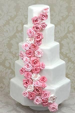 Pink Rose Wedding Cake - Cake by Farida Hagi
