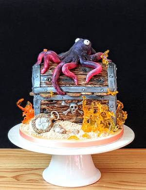 Treasure chest with octopus  - Cake by rantingfrenchmama