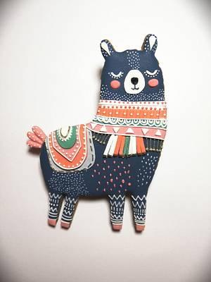 Folk Art Llama Cookie  - Cake by Cookies by Joss