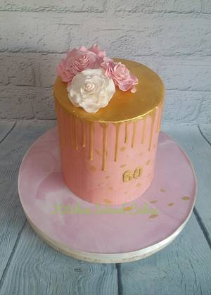 Extra-tall pink drip - Cake by Kitchen Island Cakes