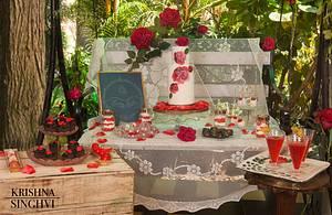 PDCA collaboration Rustic rose dessert table - Cake by krishnasinghvi