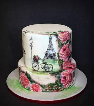 ''Sending roses from Paris''- Hand painted - Cake by Olanuta Alexandra