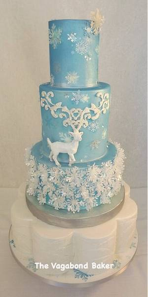 Reindeer and Snowflakes cake. - Cake by The Vagabond Baker