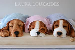The Sleeping Puppies - Cake by Laura Loukaides