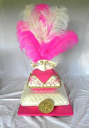Masquerade Quinceanera - Cake by Kara's Couture Cakes