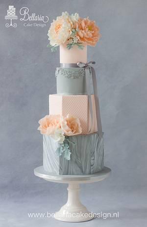 Hexagonal marbled wedding cake  - Cake by Bellaria Cake Design
