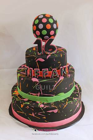Neon Clubbing Cake - Cake by Guilt Desserts