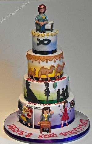 50 years life story cake - Cake by Ellie @ Ellie's Elegant Cakery
