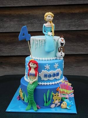 Ariel and Elsa cake - Cake by Liliana Vega