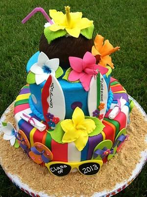 Hawaiian Graduation - Cake by TastyMemoriesCakes