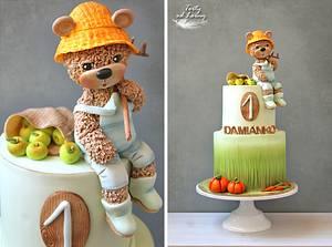 Teddy bear Farmer - Cake by Lorna