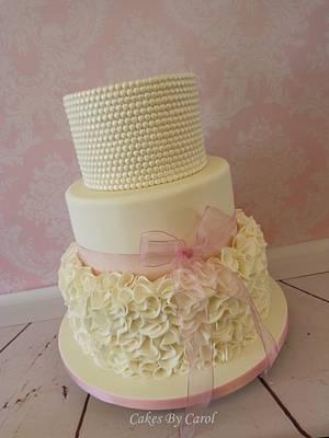 Ivory Pearls & Ruffles Wedding Cake - Cake by Carol