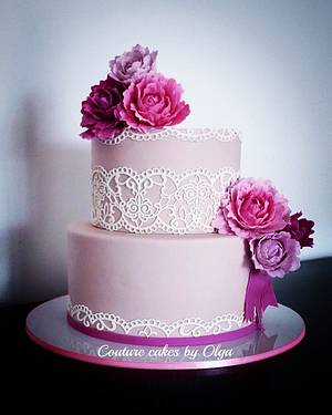 Peonies bd cake - Cake by Couture cakes by Olga
