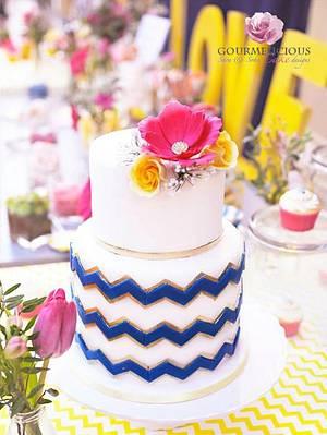 Chevron wedding cake  - Cake by Sara & Soha Cakes - i.e. Gourmelicious