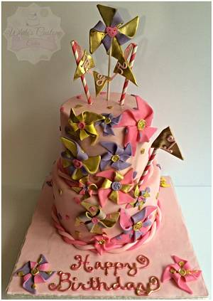 Pinwheels First Birthday - Cake by Sabrina - White's Custom Cakes