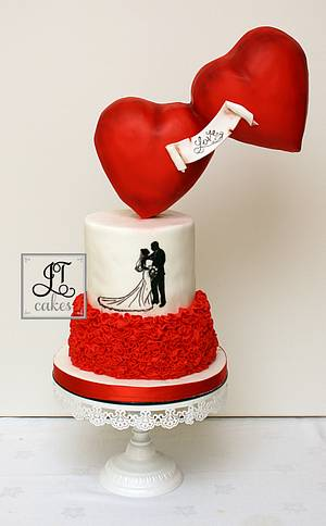 Valentines Wedding Gravity Defying Hearts - Cake by JT Cakes