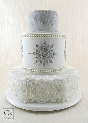 Ruffled, piped and shimmered Wedding Cake - Cake by Natasha Shomali