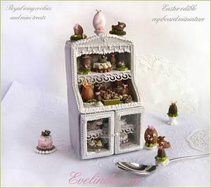 Edible miniature food on cookie cupboard - Cake by Evelindecora