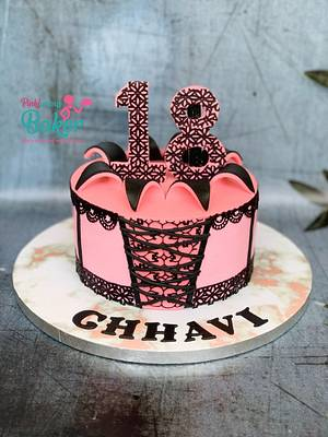 Coloured ganache corset cake  - Cake by Pinkle