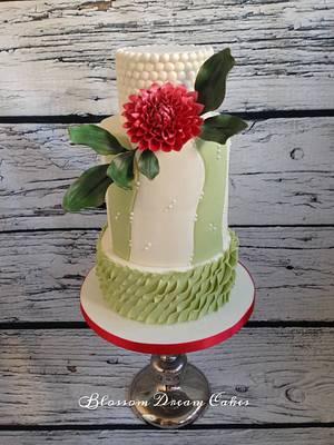 Red Dahlia wedding cake - Cake by Blossom Dream Cakes - Angela Morris