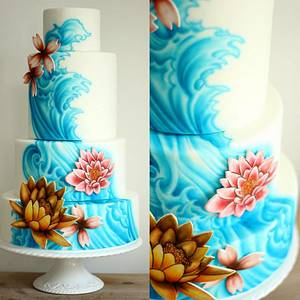 Four tier wedding cake with freehand airbrushing - Cake by Sugar Spice