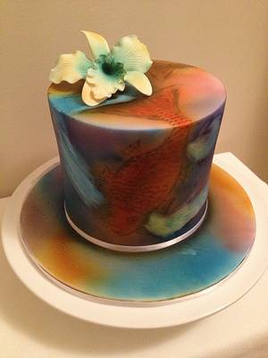 Attempted Airbrushed Koi (coi) ! - Cake by Kelli Maree