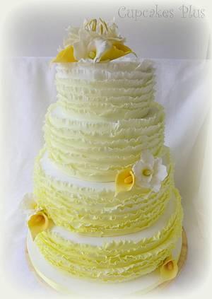 Yellow ombre ruffle cake - Cake by Janice Baybutt