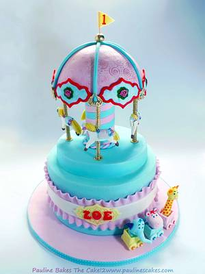 Zoe's Vintage Carousel & Cute Animal Train Ride! - Cake by Pauline Soo (Polly) - Pauline Bakes The Cake!
