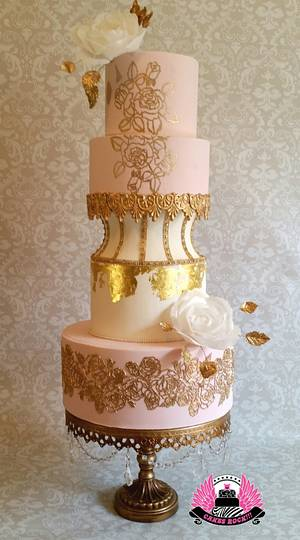 Blush & Bling Wedding Cake - Cake by Cakes ROCK!!!