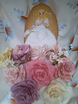roses bunch and confirmation cookie - Cake by Catalina Anghel azúcar'arte