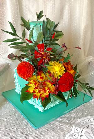 World Cancer Day Sugarflowers and cakes in Bloom Collaboration - Cake by Goreti