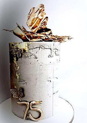 Concrete and Gold Cake - Cake by Dozycakes