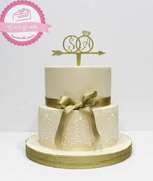 Engagement cake...Simple yet elegant - Cake by Piece of Cake-homemade peace