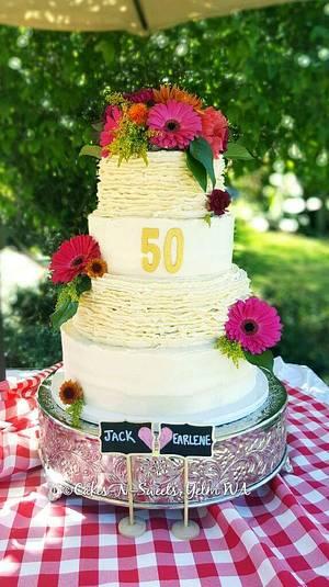 50th Anniversary  - Cake by Teresa Frye