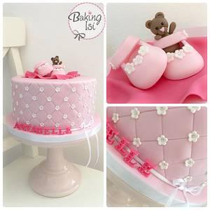 Pink christening cake - Cake by Baking Isi