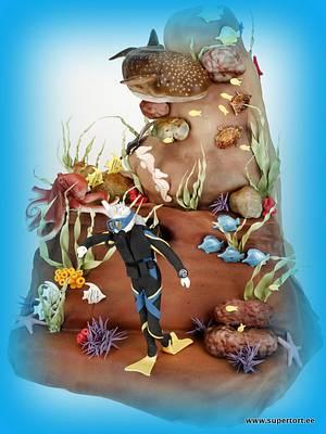 Diver and whale shark cake - Cake by Olga Danilova