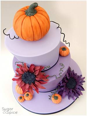 A 'Pumpkins and Purples' Wedding   - Cake by Sugargourmande Lou