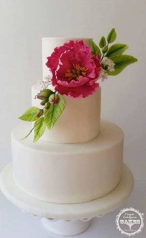 Gumpaste Peony Flower - Cake by Maria Cazarez Cakes and Sugar Art