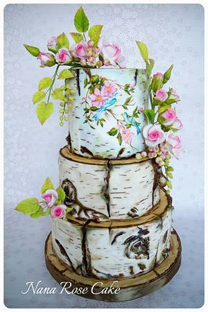 Birch Tree with spring flowers and birds  - Cake by Nana Rose Cake