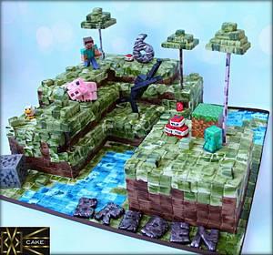 """16""""x16"""" MineCraft Cake!  - Cake by Cake! By Jennifer Riley"""