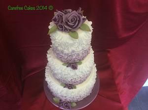 Rose and Ruffle Wedding Cake - Cake by carefreecakes
