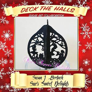 Deck the Halls Sugar Art Collaboration - Cake by Sue's Sweet Delights