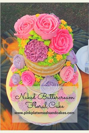 Naked floral buttercream cake  - Cake by Pink Plate Meals and Cakes