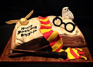 Harry potter open book cake  - Cake by The sugar cloud cakery