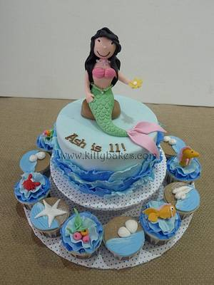 Ruffle Waves Mermaid Cake  - Cake by Ling KittyBakes